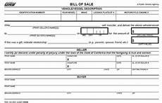 California Bill Of Sale Car California Bill Of Sale Form