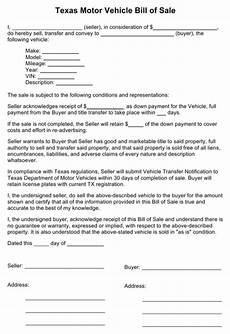 Auto Bill Of Sale Texas Download Texas Bill Of Sale Form For Free Formtemplate