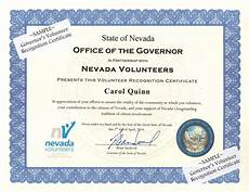 What Is Certificate Of Recognition Governor S Volunteer Recognition Certificate Nevada