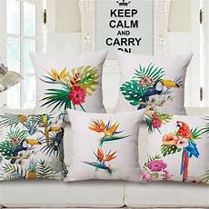 tropical plant palm leaves bird floral decorative bed sofa