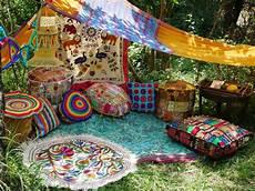 hippie decor set floor seating boho canopy room