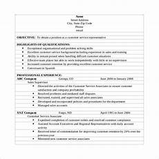 How To Word Customer Service On Resume Free 10 Sample Customer Service Resume Templates In Pdf