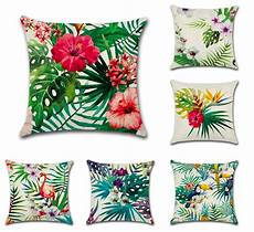 outdoor patio pillows flamingo tropical flower leaves