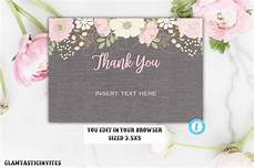 thank you card editable template floral grey rustic thank you card template instant
