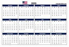Printable 2020 12 Month Calendar Us 2020 Calendar Yearly 12 Month Printable Calendar 2020