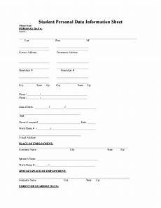 Personal Information Form For Students Editable Personal Information Sheet For Students Fill