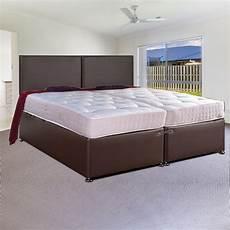 zip and link leather divan bed set ortho sleep