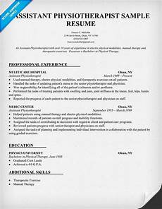 Physiotherapy Resume Sample Resume Sample Assistant Physiotherapist Resume Http