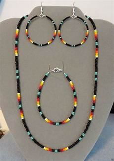 turquoise black beaded necklace earrings bracelet set