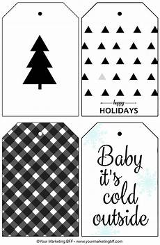 Christmas Labels Black And White Modern Holiday Gift Tags Free Printable