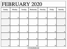 Calendars January 2020 February 2020 Free Printable February 2020 Calendar