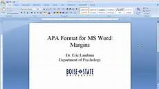 Microsoft Apa Templates Apa Format For Microsoft Word Margins Youtube