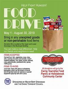 Can Food Drive Flyer Ewing New Jersey Ewing Township Encourages Residents To
