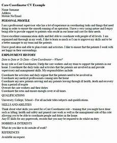 Care Worker Personal Statement Care Coordinator Cv Example Icover Org Uk
