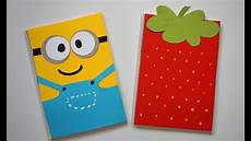 Cover Page For Notebook Diy Notebook Covers Minions Amp Strawberry Back To School