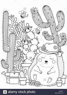Igel Ausmalbild Erwachsene Entz 252 Ckende Igel Mit Kaktus Erwachsene Malvorlagen