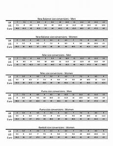 Comme Size Chart Running Shoe Size Conversion Chart