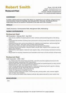 Restaurant Host Resume Restaurant Host Resume Samples Qwikresume