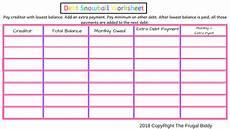 Snowball Worksheet Debt Snowball Worksheet