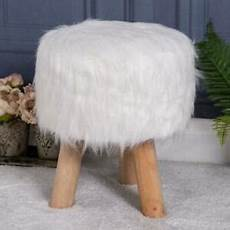 Esituro Ottoman Padded Footstool Fur Pouffe Chair by Fluffy White Stool Faux Fur Wood Footstool Luxury
