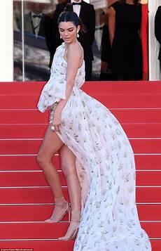 kendall jenner puts legs on show in billowing mini dress