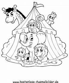 ausmalbild tiere im zirkus zum ausdrucken
