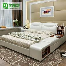 modern leather size storage bed frame with side
