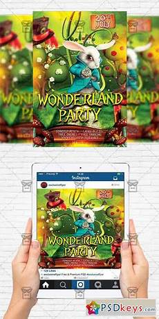 Party Flyer Size Wonderland Party Flyer Template Instagram Size Flyer