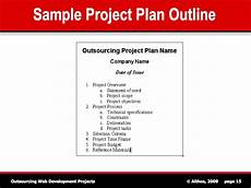 Sample Project Outline Outsourcing Tutorial Sample Project Plan Outline