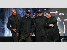 Ice Cube and Dr Dre join NWA members in Brooklyn as they