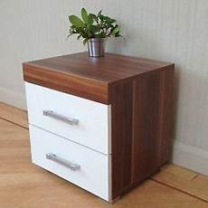 2 drawer white walnut bedside cabinet table bedroom