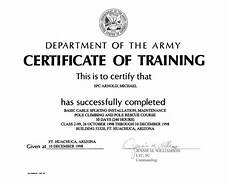 Army Certificates Of Training Certificate Thumbnails