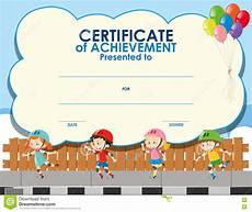 Free Certificate Template For Kids Certificate Template With Kids Skating Stock Illustration