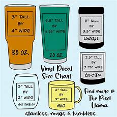 Coffee Cup Sizes Chart Vinyl Decal Size Chart For Cups Cricut Projects Vinyl