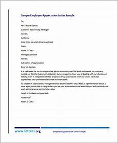 Appreciation Letter To Employees 10 Appreciation Letter Templates To Employee Pdf Doc