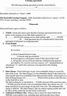 Catering Contracts Samples Catering Contract Templates Find Word Templates