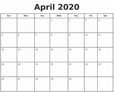 print calendar april 2020 april 2020 print a calendar