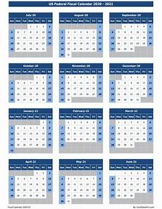 2020 Fiscal Year Calendar Download Us Federal Fiscal Calendar 2020 21 Excel Template