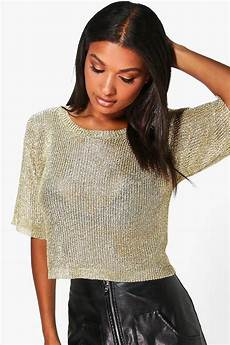 sleeve metallic knit top boohoo