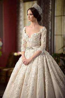 luxury wedding dress v neck beading ruffles heavy