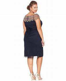 Xscape Plus Size Dresses Size Chart Xscape Plus Size Cap Sleeve Beaded Dress In Navy Blue Lyst