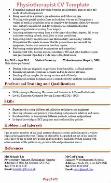 Physiotherapy Resume Sample Physiotherapist Cv Template 2