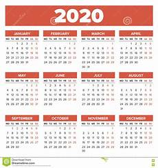 2020 16 Year Calendar Simple 2020 Year Calendar Stock Vector Illustration Of