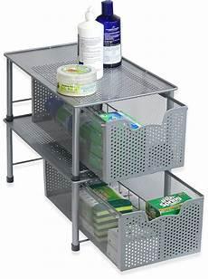 stackable sink cabinet sliding basket organizer
