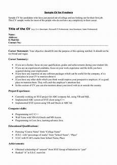 Curriculum Vitae Samples For Freshers Sample Cv For Freshers