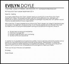 Cover Letter For Team Leader Position Examples Production Team Leader Cover Letter Sample Cover Letter