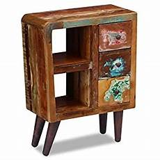 festnight reclaimed wood nightstand with 3