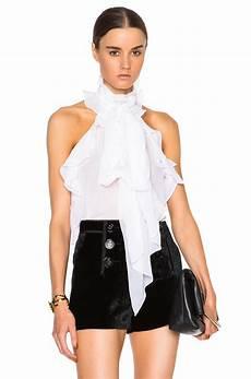 sleeveless ruffle blouse emilio pucci silk sleeveless ruffle blouse in white lyst