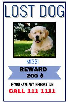 Lost Dog Poster Maker Copy Of Lost Pet Postermywall