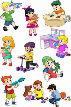 Playing Kids Cartoon Kids Sharing Toys Clipart World Of Reference